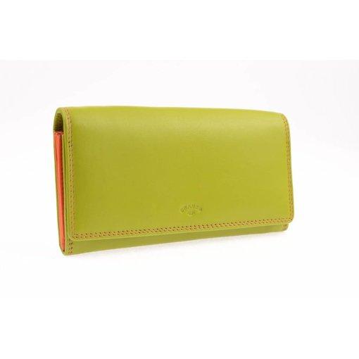 Branco Lederwaren Kleurrijke dames portemonnee groen
