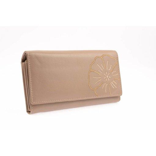 Branco Lederwaren Dames portemonnee met bloem taupe