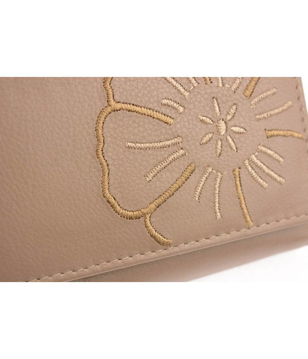 Branco Lederwaren Taupe dames portemonnee met bloem