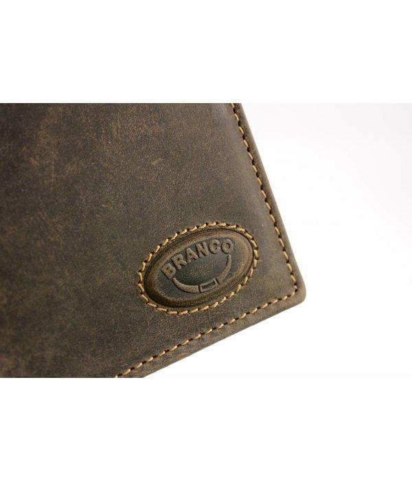Branco Lederwaren Bruine vintage heren portemonnee verticaal formaat
