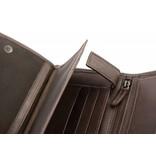 Branco Lederwaren Bruine duurzame vintage heren portemonnee verticaal formaat