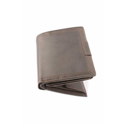 Branco Lederwaren Duurzame vintage portemonnee heren verticaal bruin