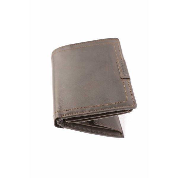 Duurzame vintage portemonnee heren verticaal bruin