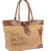 Mona-B Life Work Create canvas beige schoudertas van Mona B.