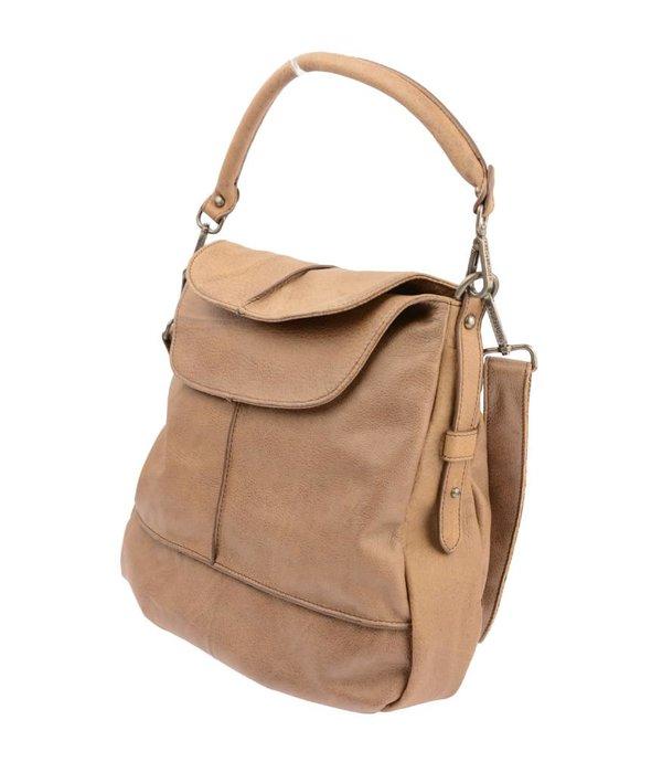 FREDsBRUDER handtas met flappen vanilla bruin dames
