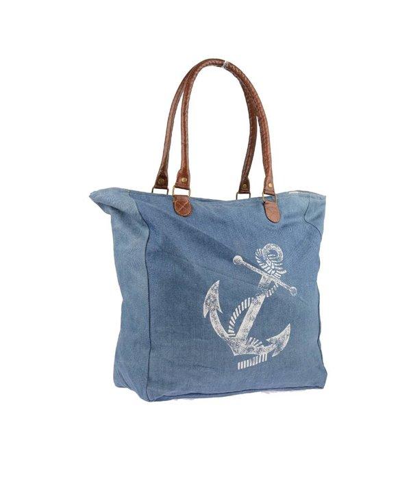 Mona-B Sail Away Denim canvas schoudertas Mona B