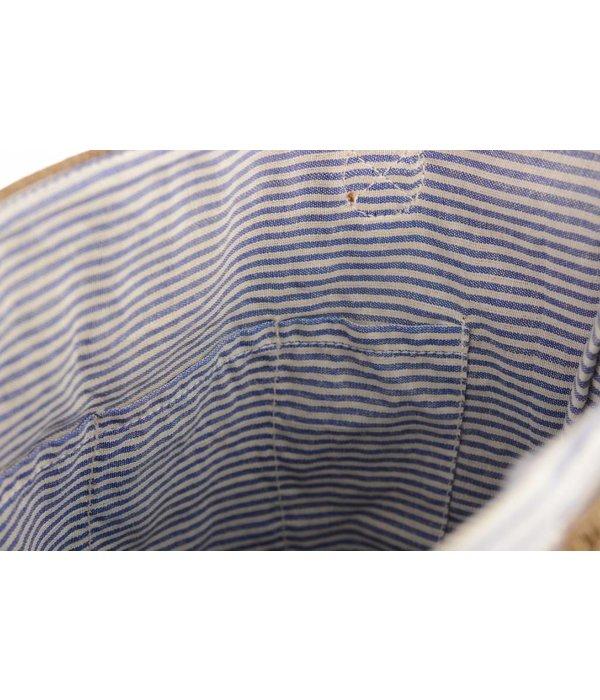 Mona-B USA stamped canvas beige schoudertas van Mona B.