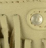Depeche kleine leren schoudertas met franjes in sand kleur