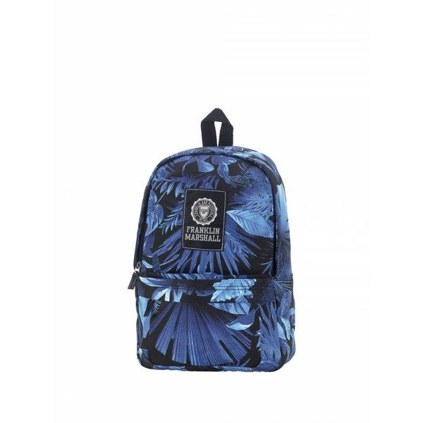hippe zwarte rugtas met felblauwe bladeren klein