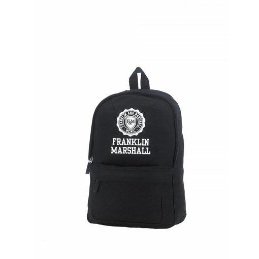 Franklin & Marshall hippe zwarte rugtas met witte letters klein