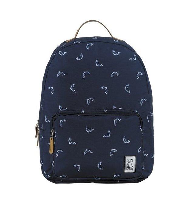 The Pack Society hippe navy rugtas met dolfijnen print