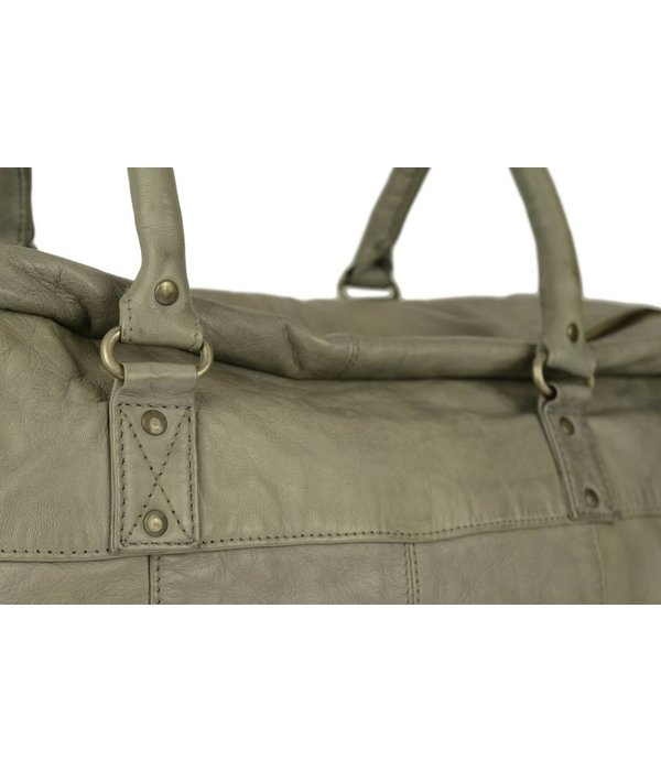 Depeche moderne leren travel bag in summer grey kleur