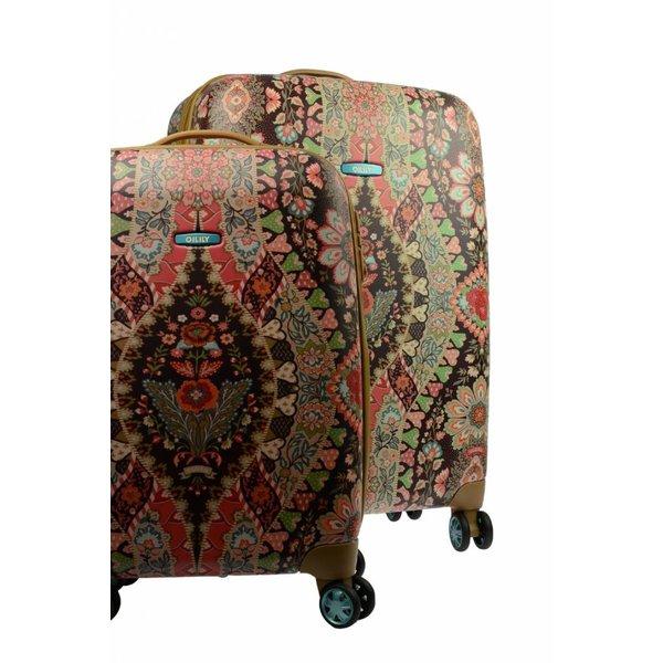 """Bruine Travel trolley set (koffers) 19"""" + 25"""" met bloemenprint"""