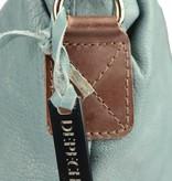 Depeche leren shady blue handtas met bruine details