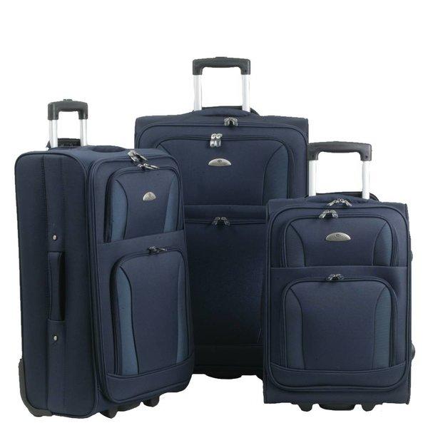 3-delig blauw kofferset