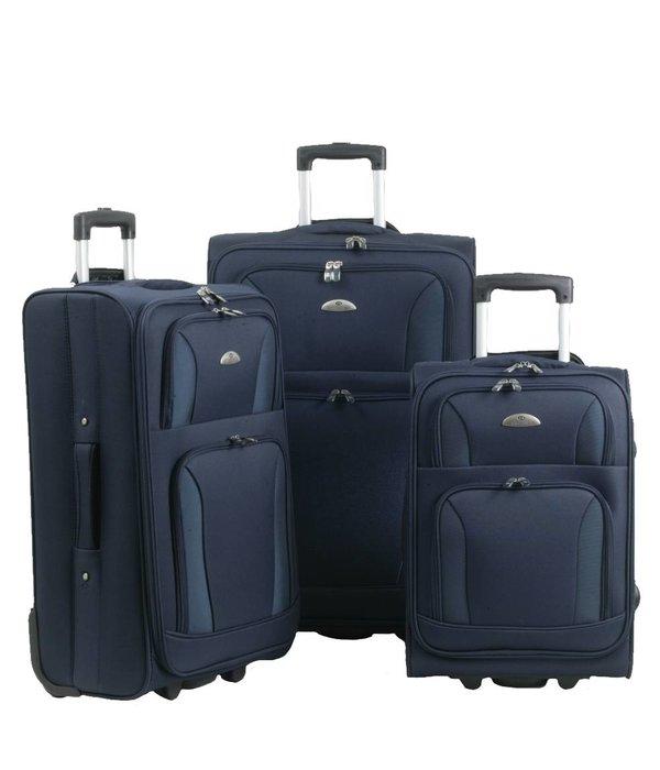 Enrico Benetti 3-delig kofferset in de kleur blauw