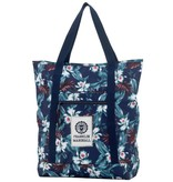 Franklin & Marshall hippe donkerblauwe shopper met bloemenprint
