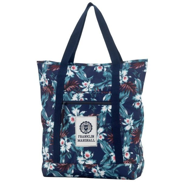 hippe donkerblauwe shopper met bloemenprint