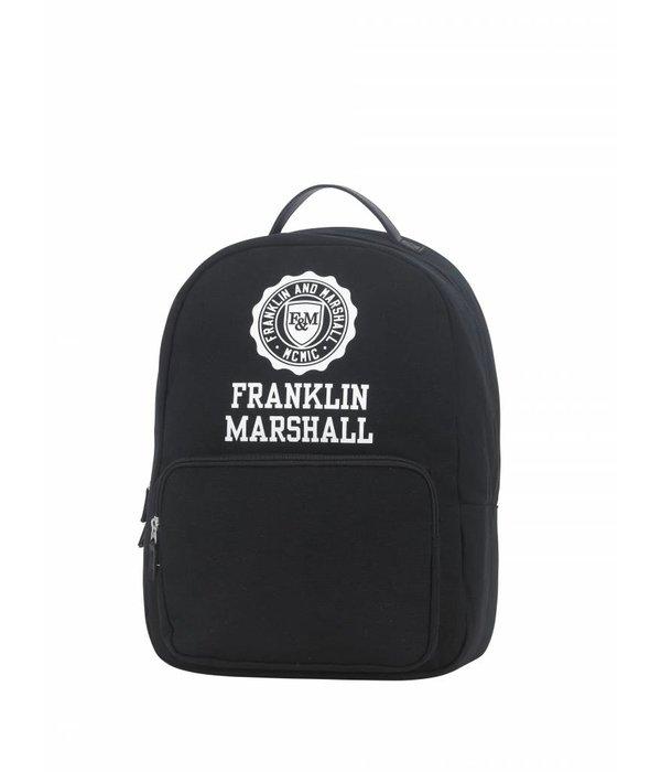 Franklin & Marshall hippe zwarte rugtas met witte letters medium
