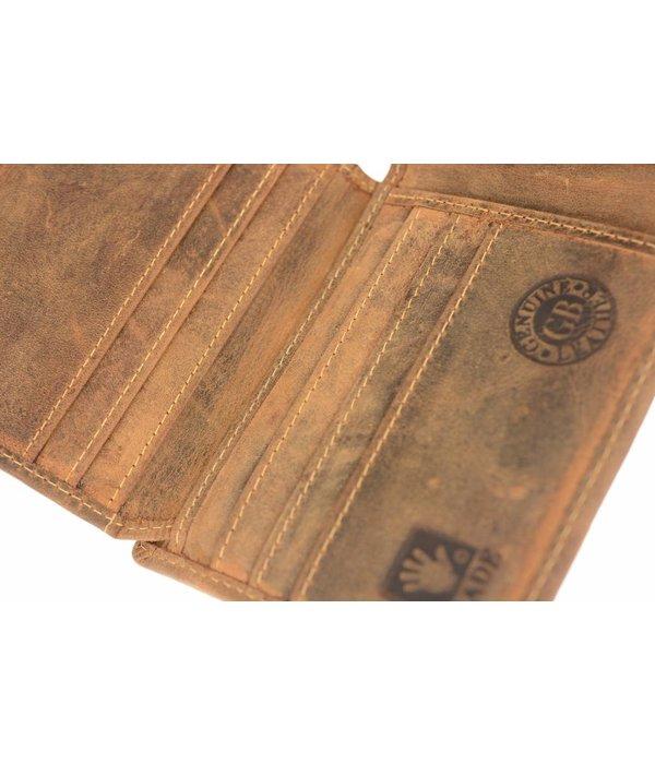 GreenBurry Stoere bruine heren billfold portemonnee