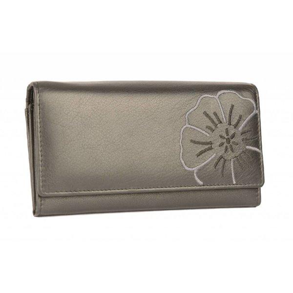 luxe zwarte dames portemonnee met bloem
