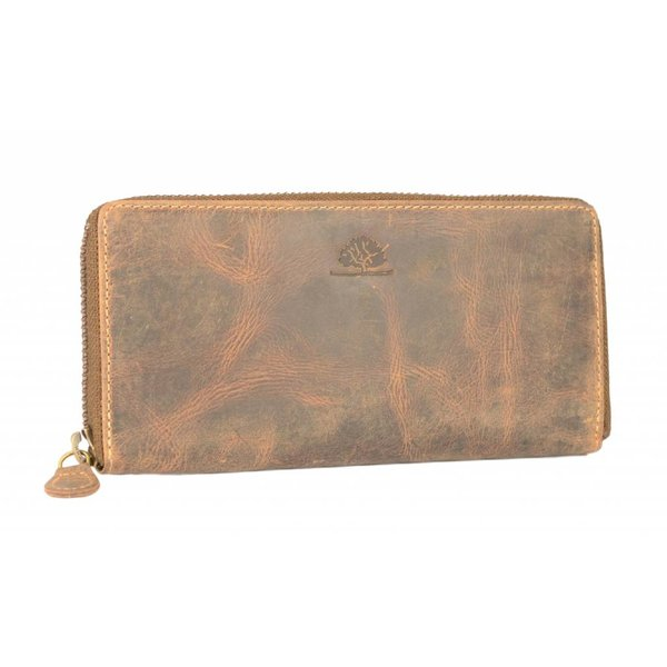 Vintage bruine dames portemonnee handgemaakt