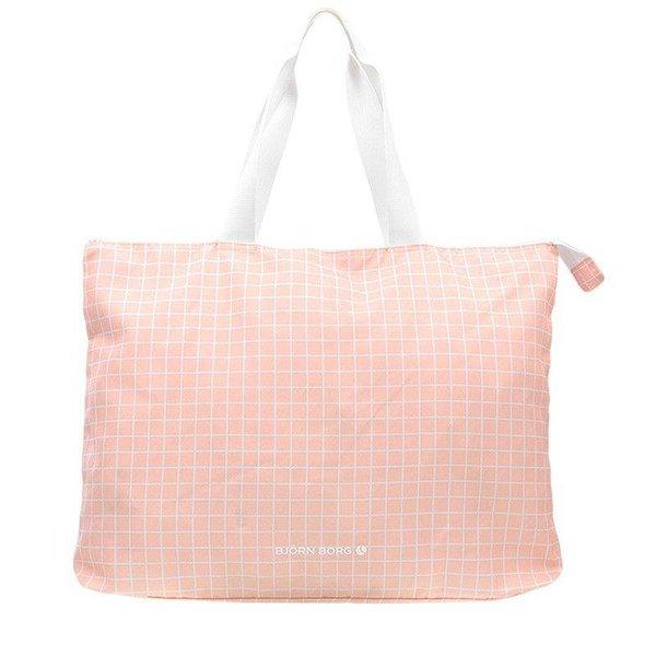 grote roze hippe beachbag met raster