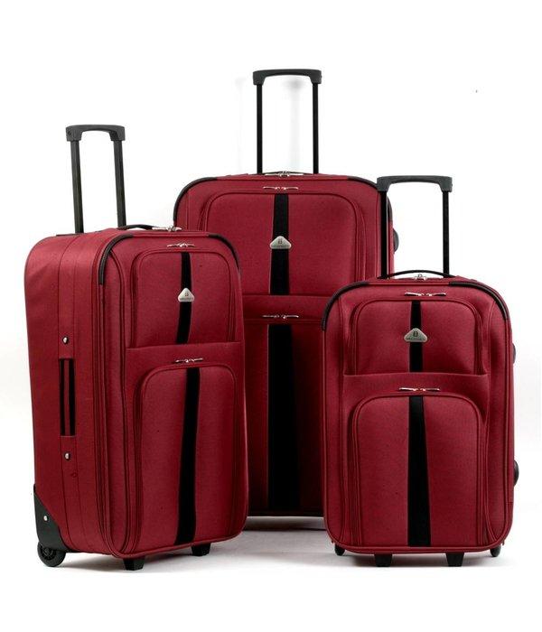 Enrico Benetti 3-delig kofferset in de kleur rood/zwart