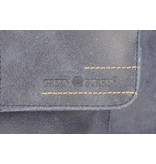 GreenBurry kleine vintage blauwe suède messenger schoudertas met flap