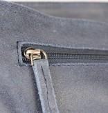 GreenBurry vintage blauwe suède messenger schoudertas met flap