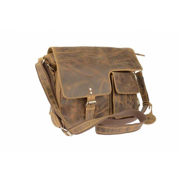 vintage bruine messenger schoudertas met flap