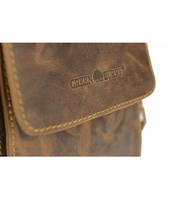 GreenBurry vintage bruine messenger schoudertas met flap