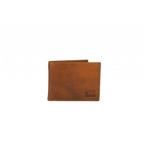 vintage cognac billfold heren portemonnee liggend