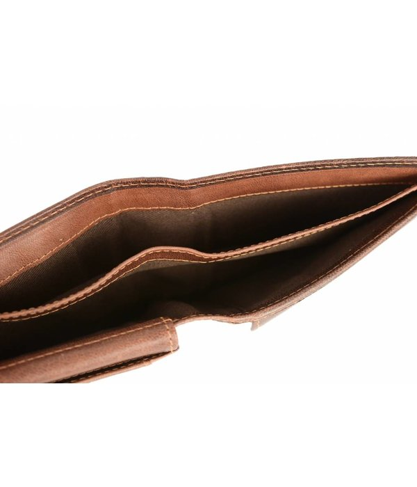 Branco Lederwaren vintage bruine billfold heren portemonnee liggend