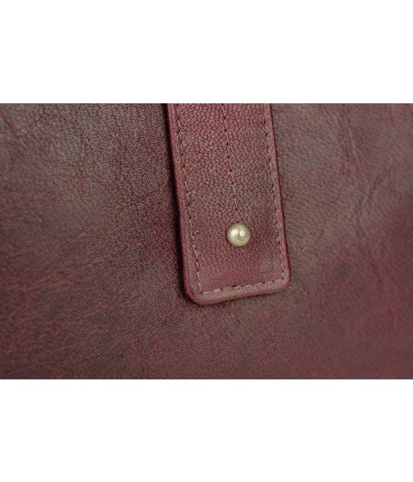 Branco Lederwaren vintage wijnrode dames portemonnee met drukknoop