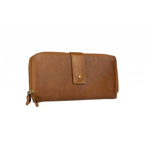 vintage cognac dames portemonnee met drukknoop