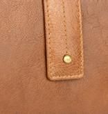 Branco Lederwaren vintage cognac dames portemonnee met drukknoop