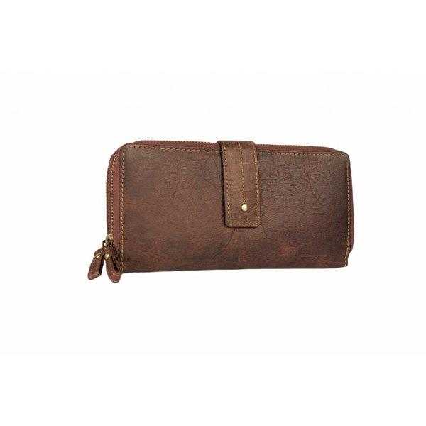 vintage bruine dames portemonnee met drukknoop