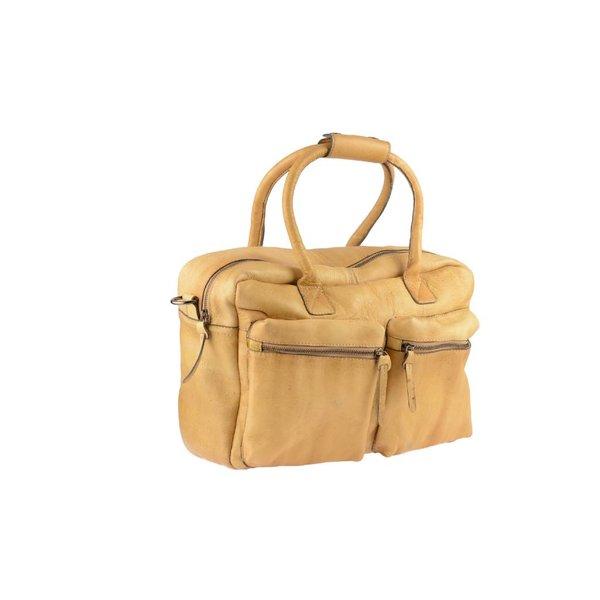 Vintage beige schoudertas met voorvakken