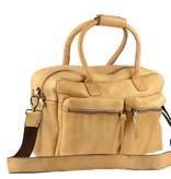 Burkely Vintage business schoudertas met voorvakken in beige kleur