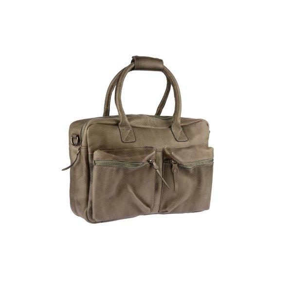 Vintage grijze schoudertas met voorvakken