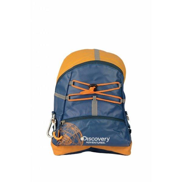 stoere blauwe kinder rugzak met oranje details