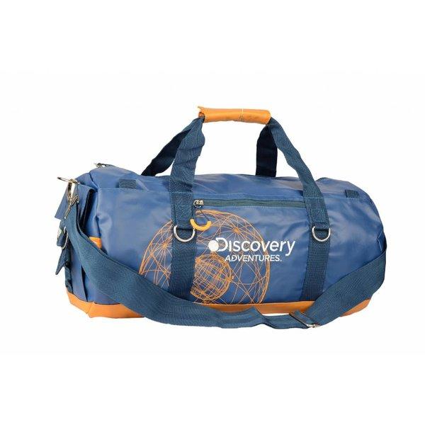stoere blauwe roll bag Discovery met oranje details