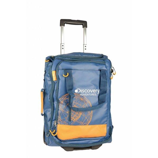 stoere blauwe cabin trolley Discovery met oranje details