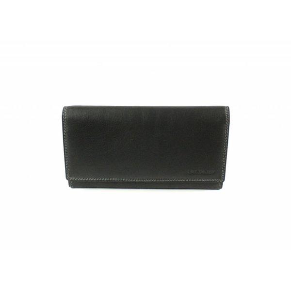 luxe zwarte MULTICOLOUR portemonnee uitgebreid