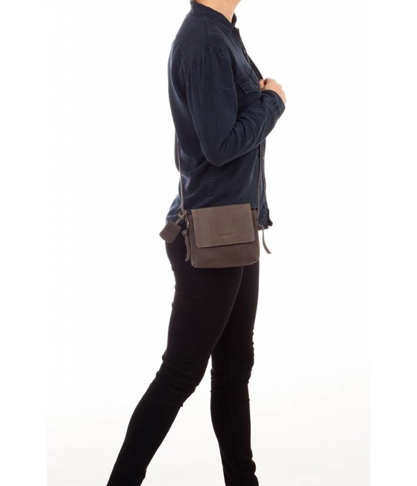 Burkely luxe grijze Lena X-OVER FLAP schoudertas