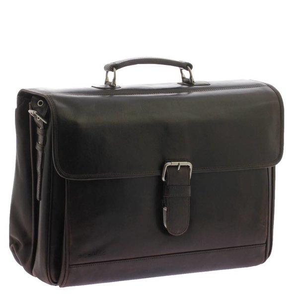 luxe donkerbruine business/laptoptas 15.6
