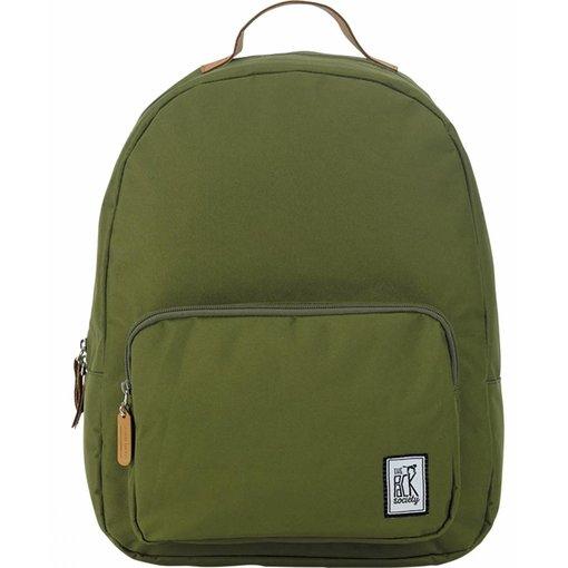 The Pack Society hippe olijfgroene classic backpack met lichtbruine details