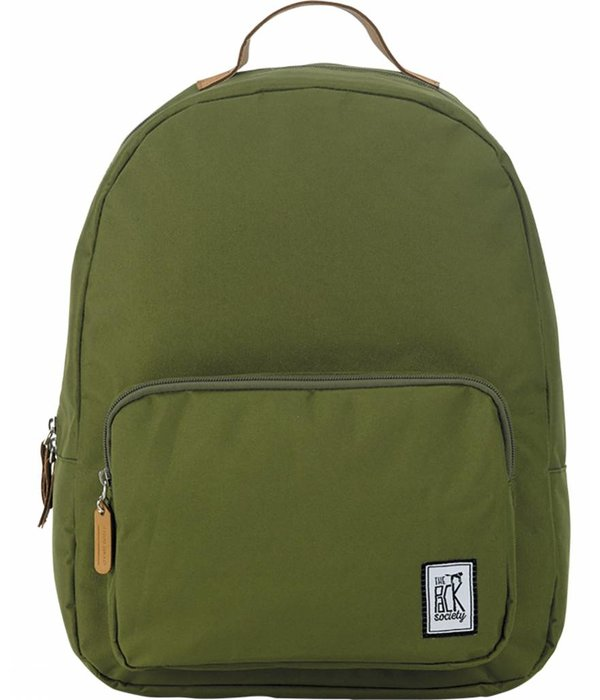 The Pack Society hippe olijfgroene classic backpack met lichtbruine details