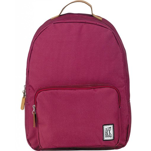 The Pack Society hippe burgundy classic backpack met lichtbruine details